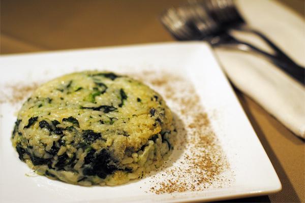 Sformato di riso con spinaci e formaggio