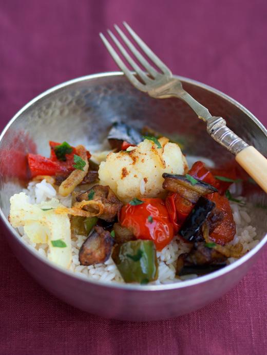 Verdure al curry con riso pilaf