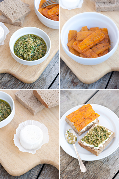 Panino con carote marocchine, caprino e tapenade di olive