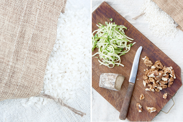 Risotto con formaggio alla birra, zucchine e noci