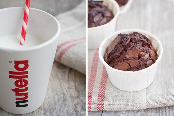 muffin alla nutella e bicchiere della nutella