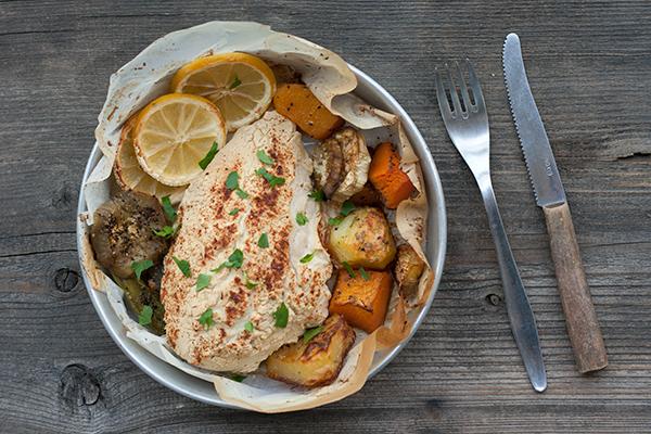 pollo al forno con hummus