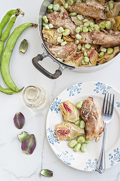 lamb with artichokes and fava beans